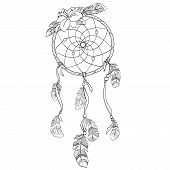 stock photo of dreamcatcher  - Dreamcatcher vector  illustration - JPG