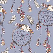 pic of dreamcatcher  - Seamless native background with dreamcatcher for wallpapers - JPG