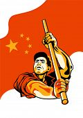 stock photo of communist symbol  - Propaganda poster with worker holding China flag - JPG