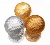 Постер, плакат: Бронза серебро золото гольф мячи