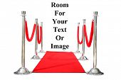 Echte Hollywood roten Teppich mit Red Velvet Seile und Silber Stantions, isolated on White with Zimmer