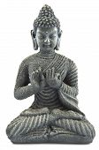 pic of budha  - Gray stone budha on a white background - JPG