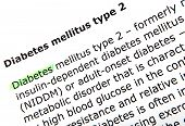 stock photo of diabetes mellitus  - Text highlighted with felt tip pen  - JPG