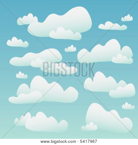 poster of Fluffy Clouds Over A Blue Sky