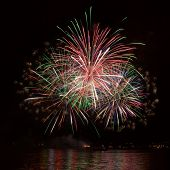 picture of firework display  - The beautiful fireworks in the night sky - JPG