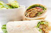 stock photo of sandwich wrap  - falafel pita bread roll wrap sandwich traditional middle eastern food
