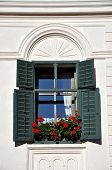 Green windows with red geranium