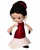 stock photo of castanets  - Cute toon Spanish flamenco dancer with castanets and red dress - JPG
