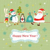 image of rabbit year  - Greeting Christmas and New Year card with Santa Claus snowman penguin and rabbit - JPG
