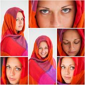 stock photo of hijabs  - Collage of beautiful girl with gorgeous eyes wearing hijab - JPG