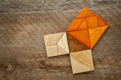 pic of tangram  - Pythagorean theorem illustrated with wooden pieces of tangram - JPG