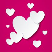 foto of paper cut out  - Paper hearts Valentines day card on pink background - JPG