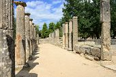 foto of olympic-games  - Greece Olympia ancient ruins of the Palaestra area in which athletes trained for wrestling in Olympia birthplace of the olympic games  - JPG