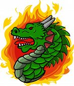 stock photo of dragon head  - Dragon head with fire flame behind him - JPG