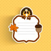 Happy Thanksgiving Day greeting or invitation card with maple leave, turkey bird and space for your