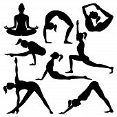picture of pilates  - Vector silhouettes of yoga positions isolated on a white background - JPG