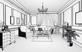 pic of interior sketch  - sketch style classic interior illustration  - JPG