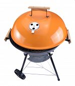 stock photo of kettling  - kettle barbecue grill with cover isolated on white - JPG