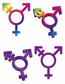 stock photo of gay symbol  - Transgender Symbols Isolated on White Background Illustration - JPG