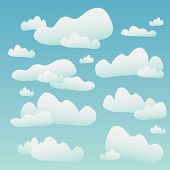 Fluffy Clouds Over A Blue Sky poster