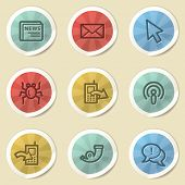 Internet web icons, color vintage stickers