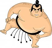 Illustration of a Sumo Wrestler with One Leg Raised