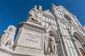 picture of alighieri  - Statue of Dante Alighieri located in the Piazza di Santa Croce in Florence Italy - JPG