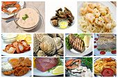 stock photo of cooked crab  - Seafood Collage - JPG