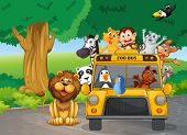 picture of kinetic  - Illustration of a zoo bus full of animals - JPG