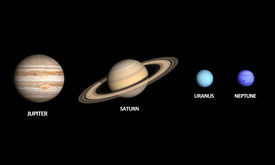 picture of uranus  - A comparison between the Gas Planets Jupiter Saturn Uranus and Neptune on a clean black background with english captions - JPG