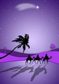 picture of magi  - an illustration of Magi following the star of Bethlehem - JPG