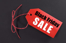 picture of friday  - Black Friday shopping sale concept with red ticket Sale tag close up on black background - JPG