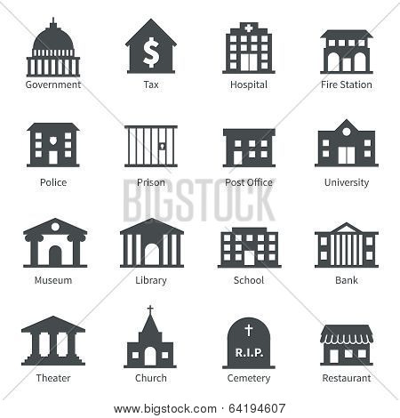 Government buildings icons poster