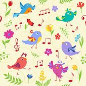stock photo of baby easter  - Cute spring musical birds seamless pattern - JPG
