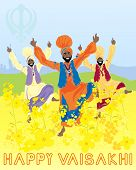 stock photo of punjabi  - an illustration of three punjabi men dancing to celebrate the harvest festival of vaisakhi with mustard flowers and sikh emblem under a blue sky - JPG
