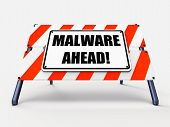 stock photo of maliciousness  - Malware Ahead Referring to Malicious Danger for Computer Future - JPG