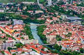 stock photo of yugoslavia  - Aerial view of downtown Mostar in Bosnia and Herzegovina - JPG