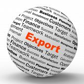 picture of export  - Export Sphere Definition Showing Abroad Selling Overseas Trade And Exportation - JPG