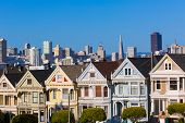pic of victorian houses  - San Francisco Victorian houses in Alamo Square at California USA - JPG