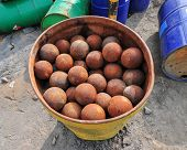 picture of iron ore  - Iron Balls that are used for milling ore into a powder as part of the mining and processing of gold ore - JPG