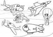 picture of fighter plane  - Black and White Cartoon Illustration of Funny Planes and Aircraft Characters Group for Coloring Book - JPG