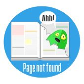 picture of not found  - Concept of not found error message with book and torn page - JPG