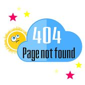 picture of not found  - Concept of not found error message with sun and cloud - JPG