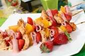 picture of impaler  - Colorful skewers of chicken - JPG