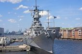 stock photo of battleship  - Battleship Wisconsin moored in Norfolk harbour - JPG
