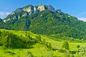 stock photo of pieniny  - The Three Crowns massif in The Pieniny Mountains range - JPG