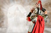 foto of soldier  - Roman soldier surprised by angel at Jesus tomb - JPG