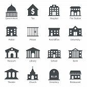 stock photo of fire-station  - Government building icons set of police  museum library theater isolated vector illustration - JPG