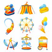 foto of merry-go-round  - Amusement entertainment park icons set with ferris wheel rollercoaster marry - JPG