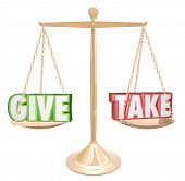 stock photo of generous  - Give and Take Words Gold Scale Balance Generous Sharing - JPG